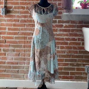 Komarov dress, cap sleeve crinkle dress